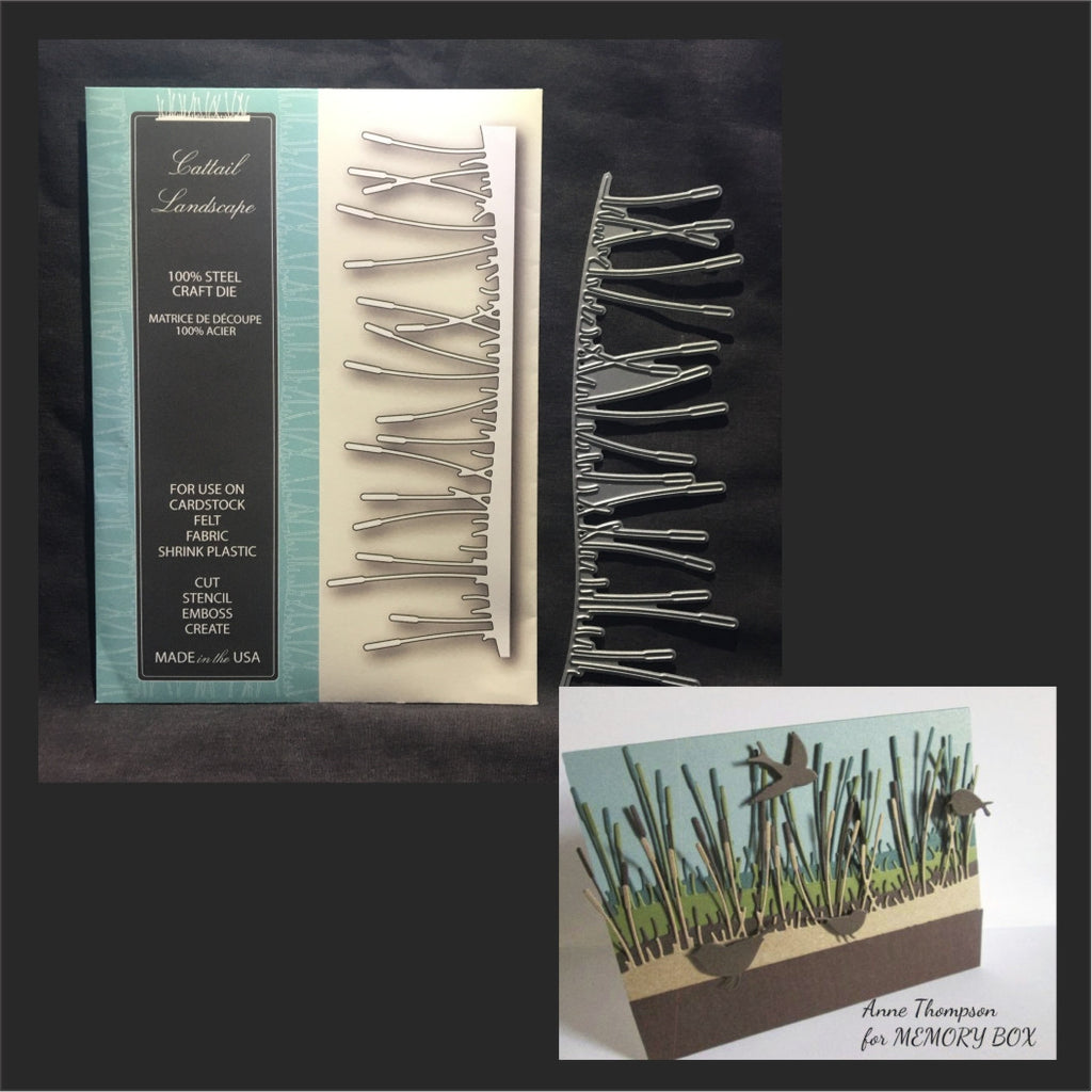 Cattail Landscape border metal die by Memory Box dies 99456