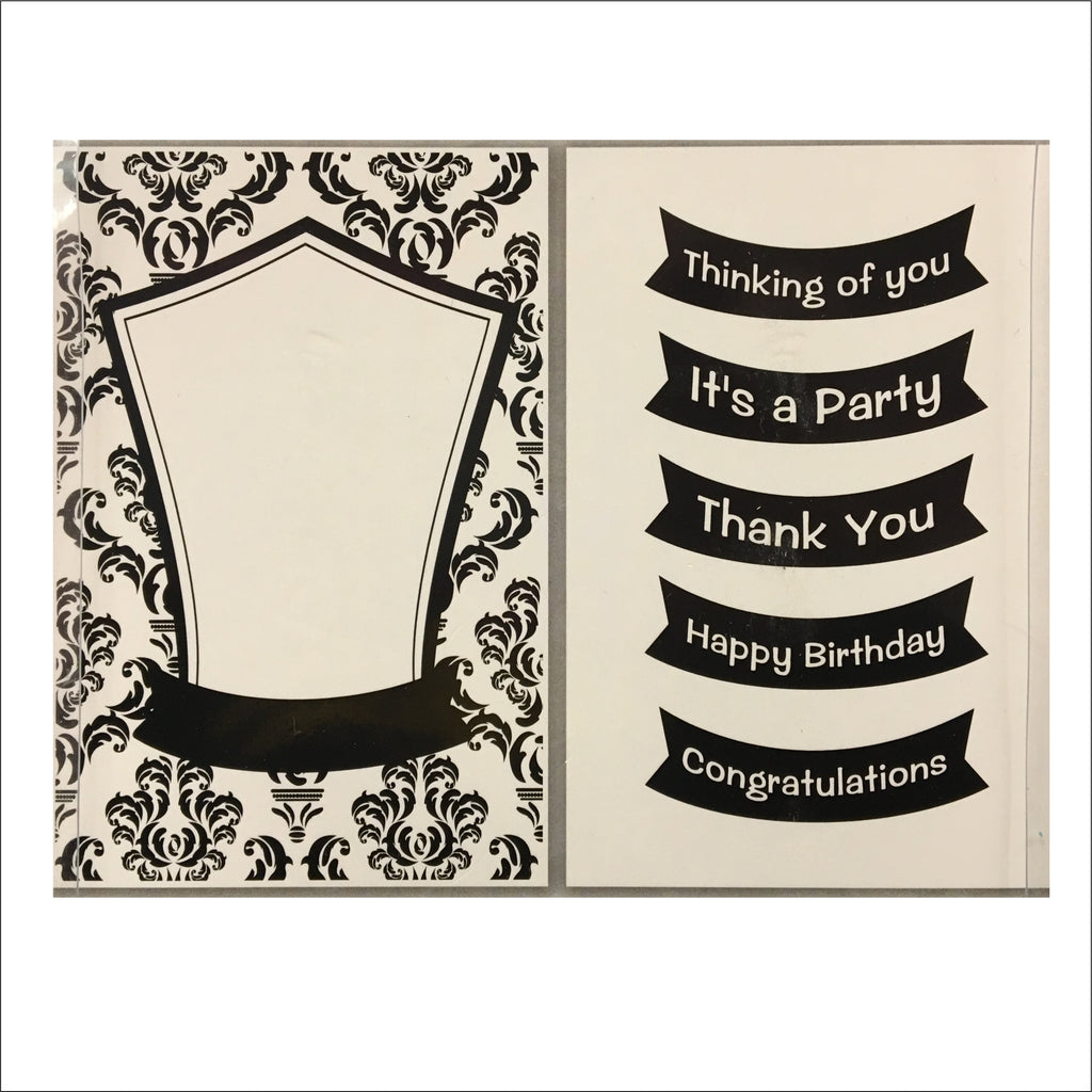 Damask Frame 5 in 1 Sentiment embossing folder set by CGull craft folders 12-0002