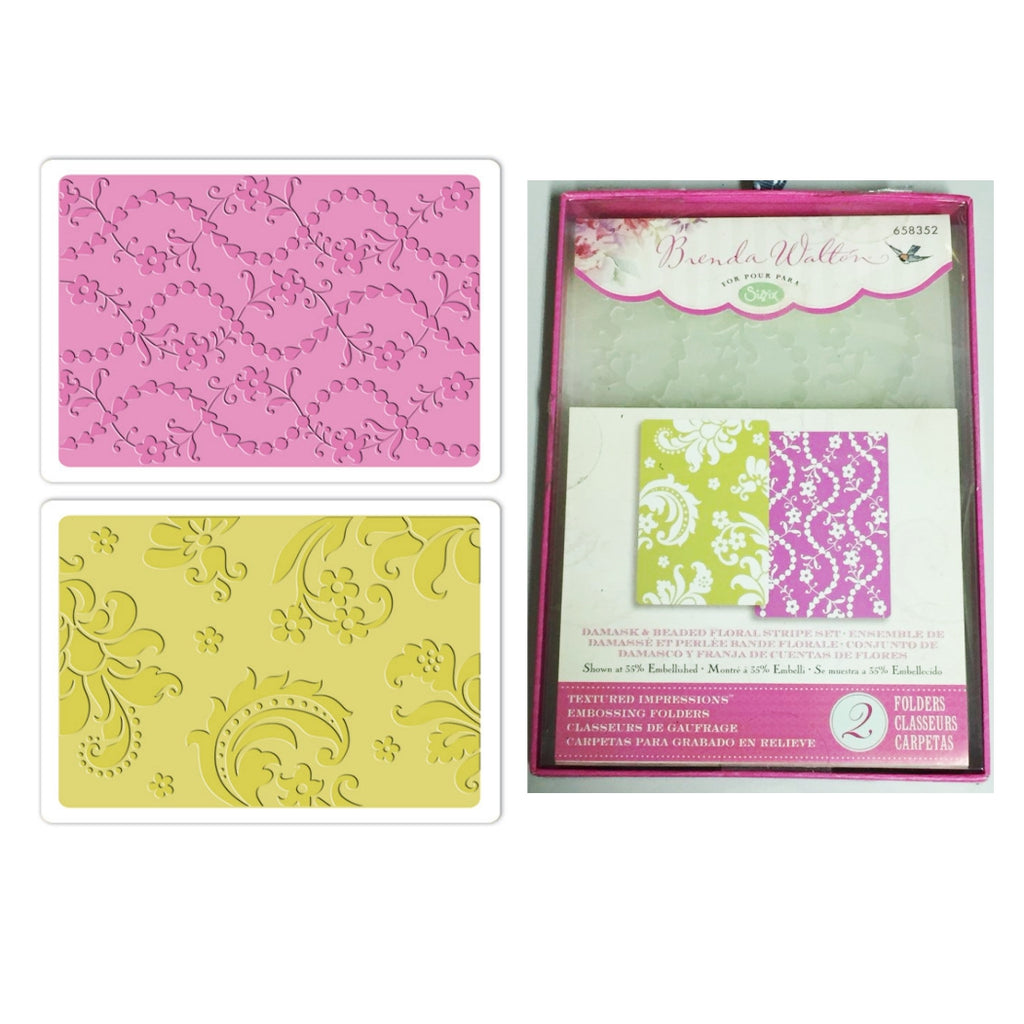 Damask and Beaded Floral Stripe Embossing Folder Set by Sizzix by Brenda Walton