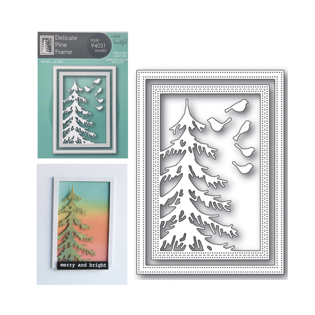 Delicate Pine Frame Metal Die Cut Set by Memory Box Dies 94031 - Inspiration Station Scrapbook Store & Retreat