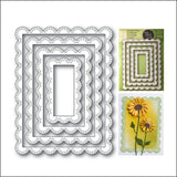 Double Stitch Scalloped Rectangle Frames Die Cut Set by Poppy Stamps Dies 2002 - Inspiration Station Scrapbook Store & Retreat
