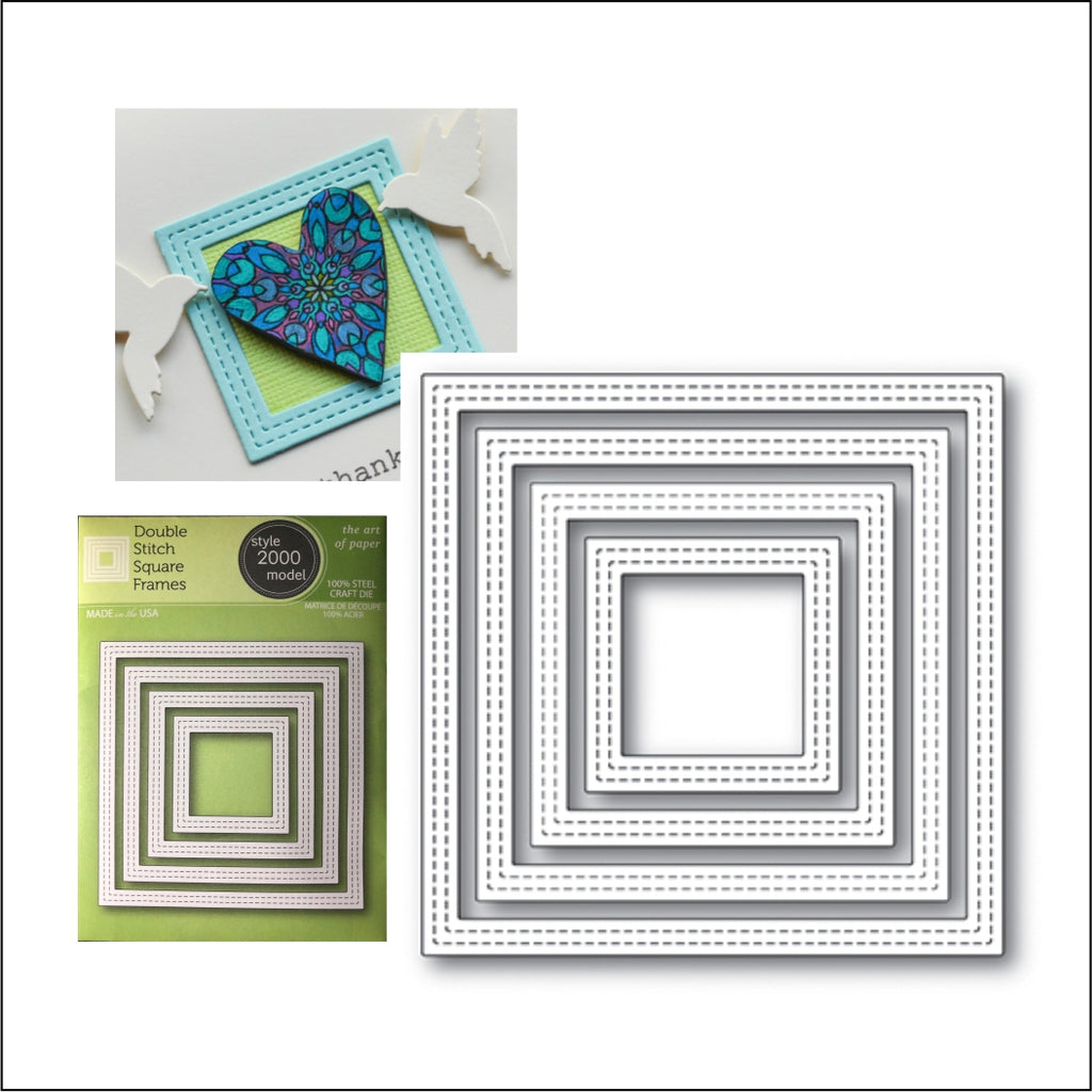 Double Stitch Square Frames Die Cut Set by Poppystamps Dies 2000 - Inspiration Station Scrapbook Store & Retreat