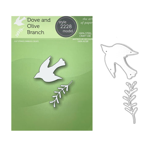 Dove and Olive Branch Metal Die Cut Set by Poppystamps Dies 2228 - Inspiration Station Scrapbook Store & Retreat