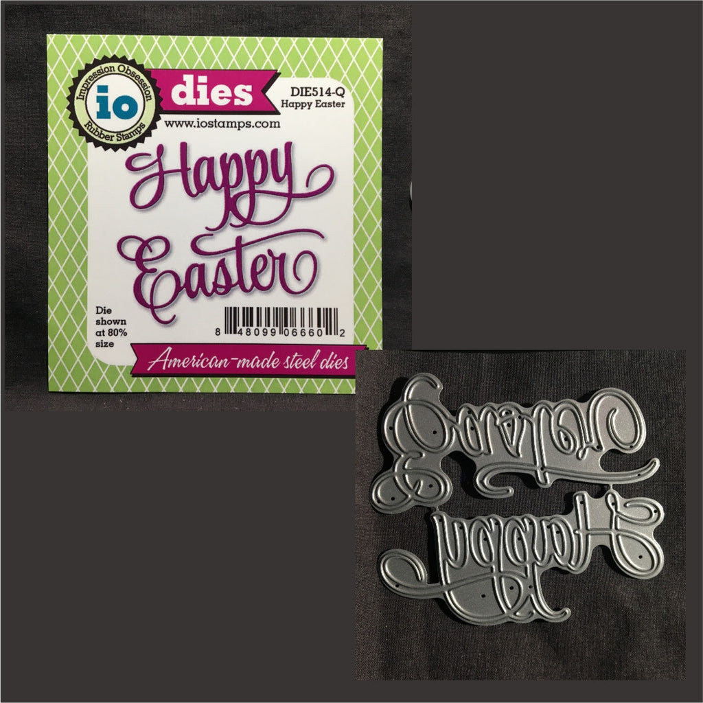 Happy Easter words metal die by Impression Obsession dies DIE514-Q