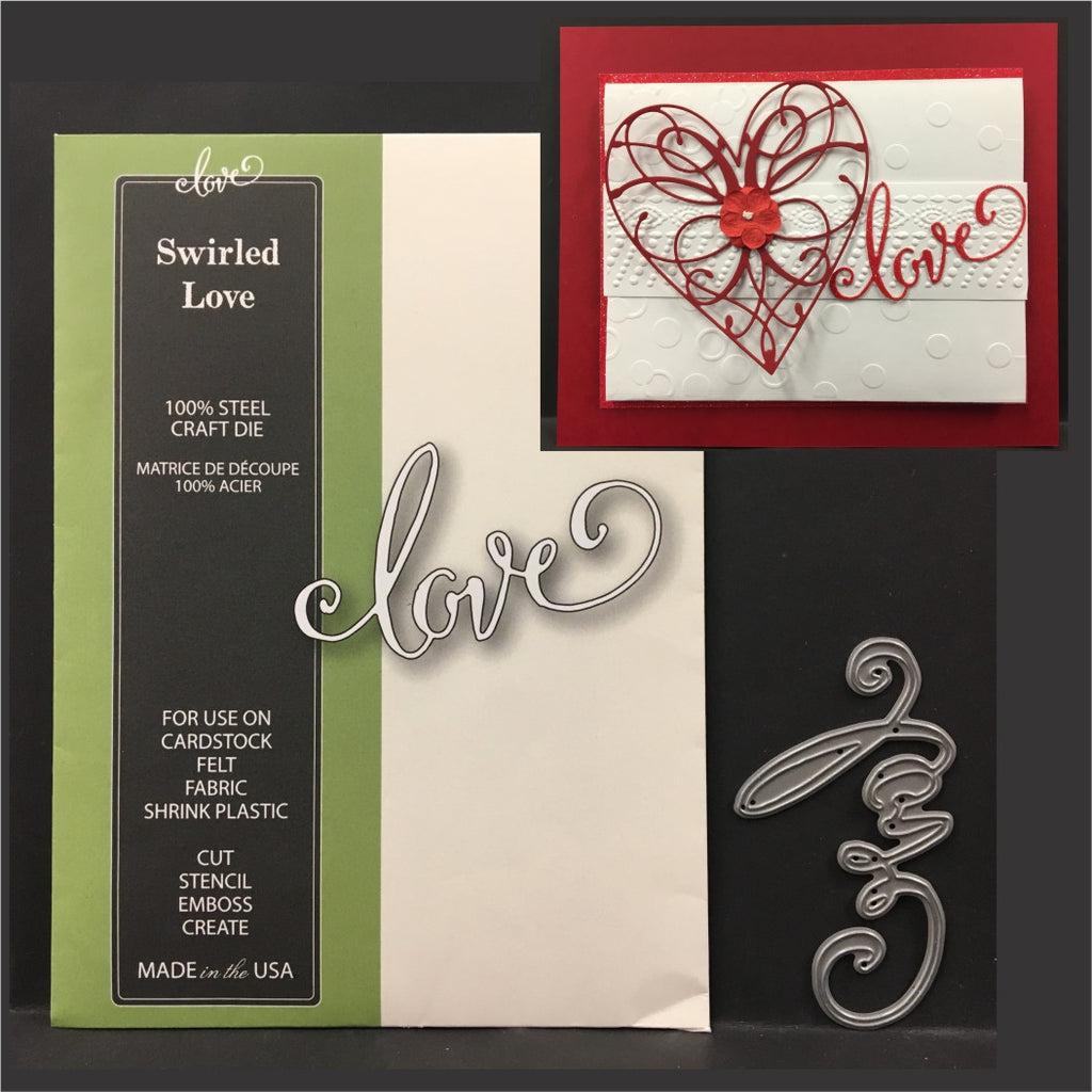 Swirled Love metal word die by Poppystamps dies 1636