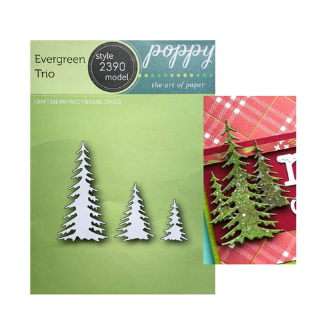 Evergreen Trio Metal Die Cut Trees by Poppystamps Dies 2390