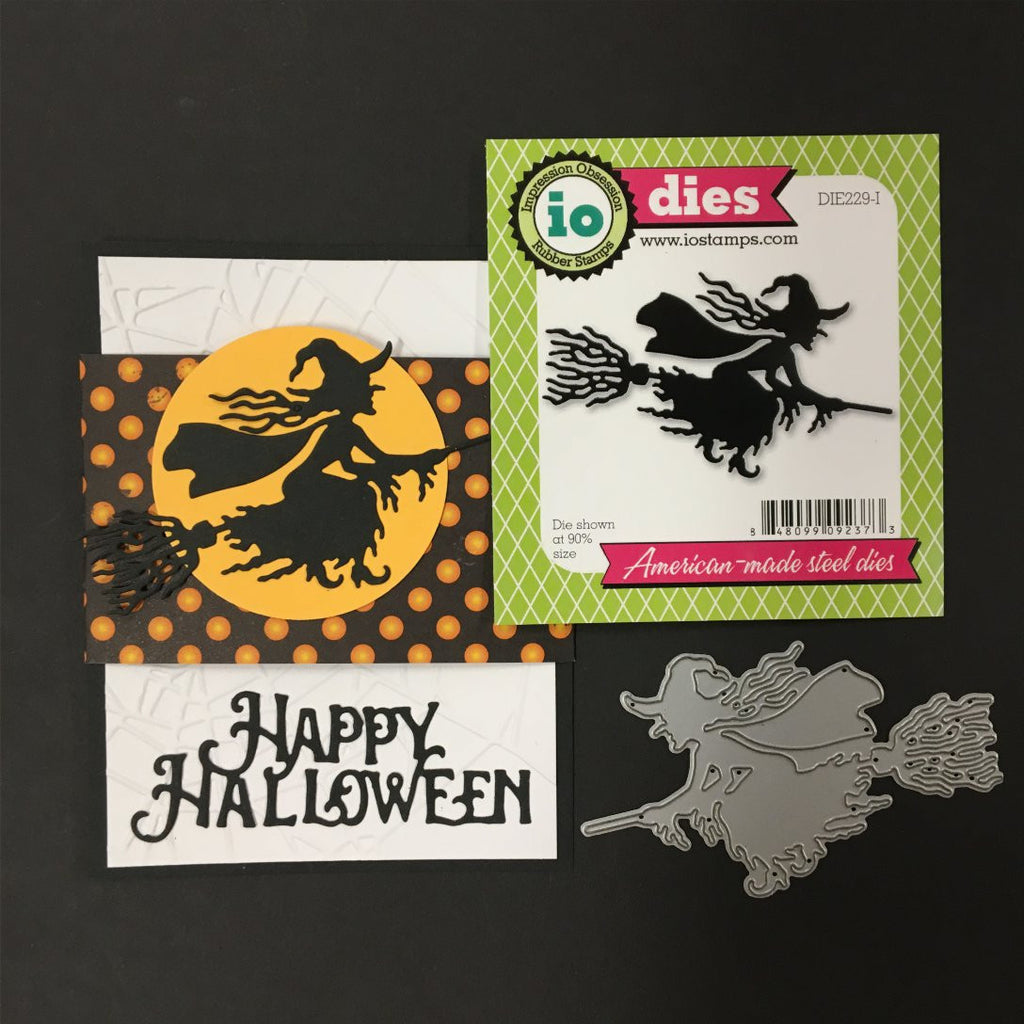 Flying Witch metal die cut - Impression Obsession dies DIE229-I for Halloween