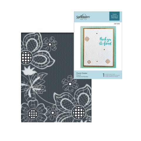 Floret Cluster Spellbinders Cut & Emboss Embossing Folder CEF-005 - Inspiration Station Scrapbook Store & Retreat