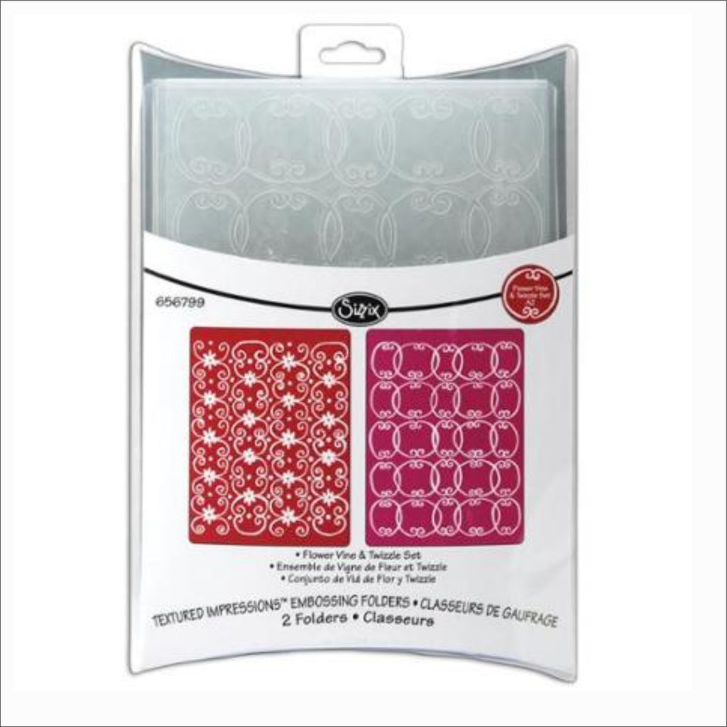 Flower Vine and Twizzle Embossing Folders by Sizzix Craft Folders 656799