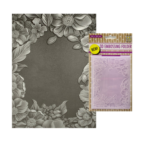 Flower Frame 3D Embossing Folder by Nellie Snellen Embossing Folders EF3D009