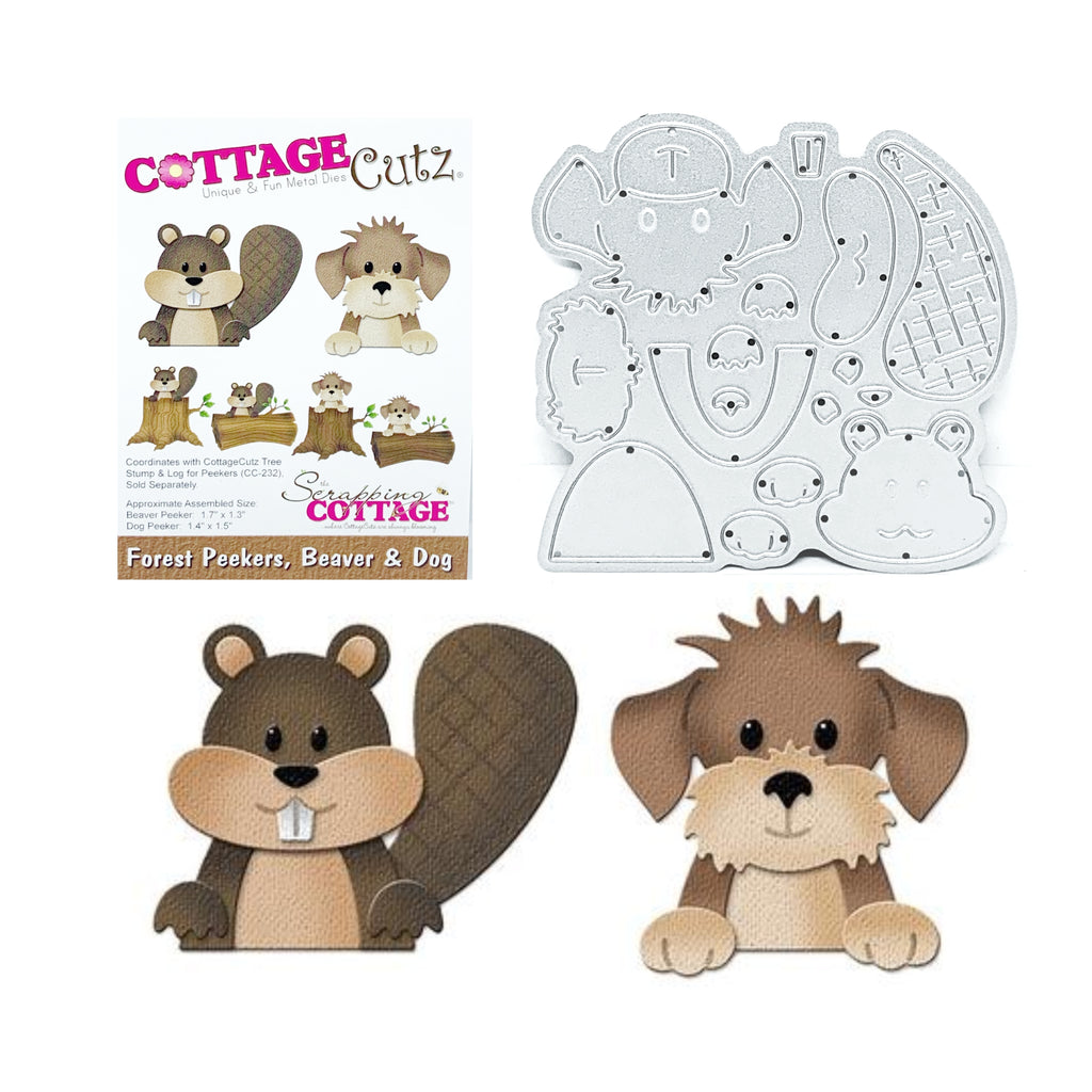 Forest Peekers Beaver & Dog Metal Die Set by Cottage Cutz CC-224 - Inspiration Station Scrapbook Store & Retreat