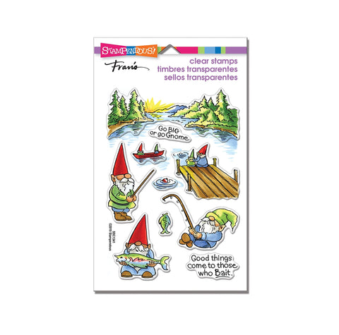 Gnome Fishing Cling Clear Stamp Sentiment set by Stampendous Stamps SSC1341