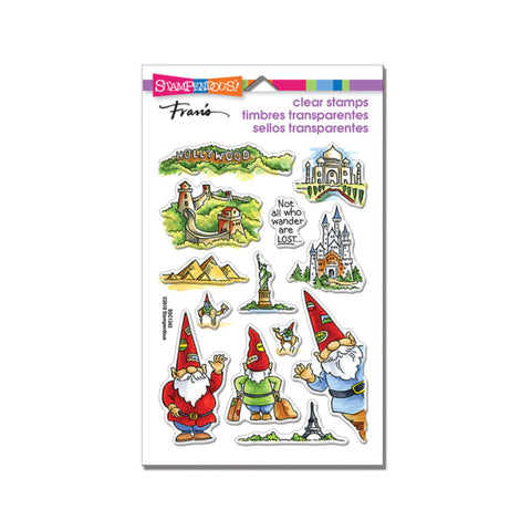 Gnome Travels Cling Clear Stamp Sentiment set by Stampendous Stamps SSC1343
