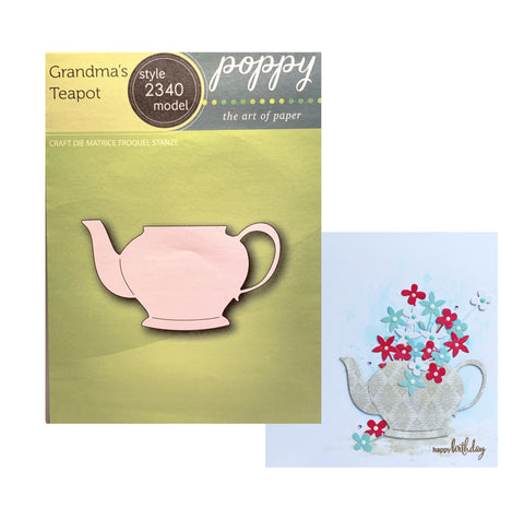 Grandma's Teapot Metal Die Cut Set by Poppystamps Dies 2340