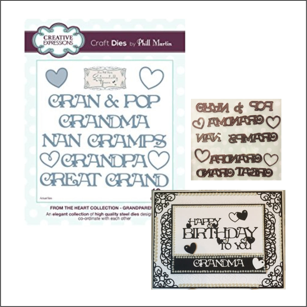 Grandparent Relatives Thin Metal Words Die Set by Phill Martin for Creative Expressions Dies CEDPM1009 - Inspiration Station Scrapbook Store & Retreat