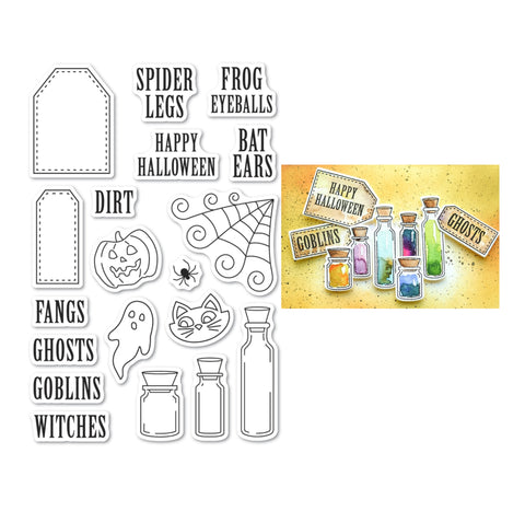 Halloween Ingredients Clear Cling Stamp Set by Poppystamps craft stamps CL493