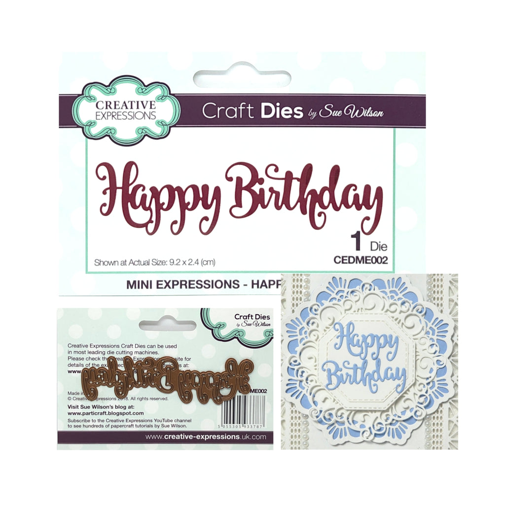 Happy Birthday Thin Metal Word Die by Sue Wilson for Creative Expressions Craft Dies CEDME002 - Inspiration Station Scrapbook Store & Retreat