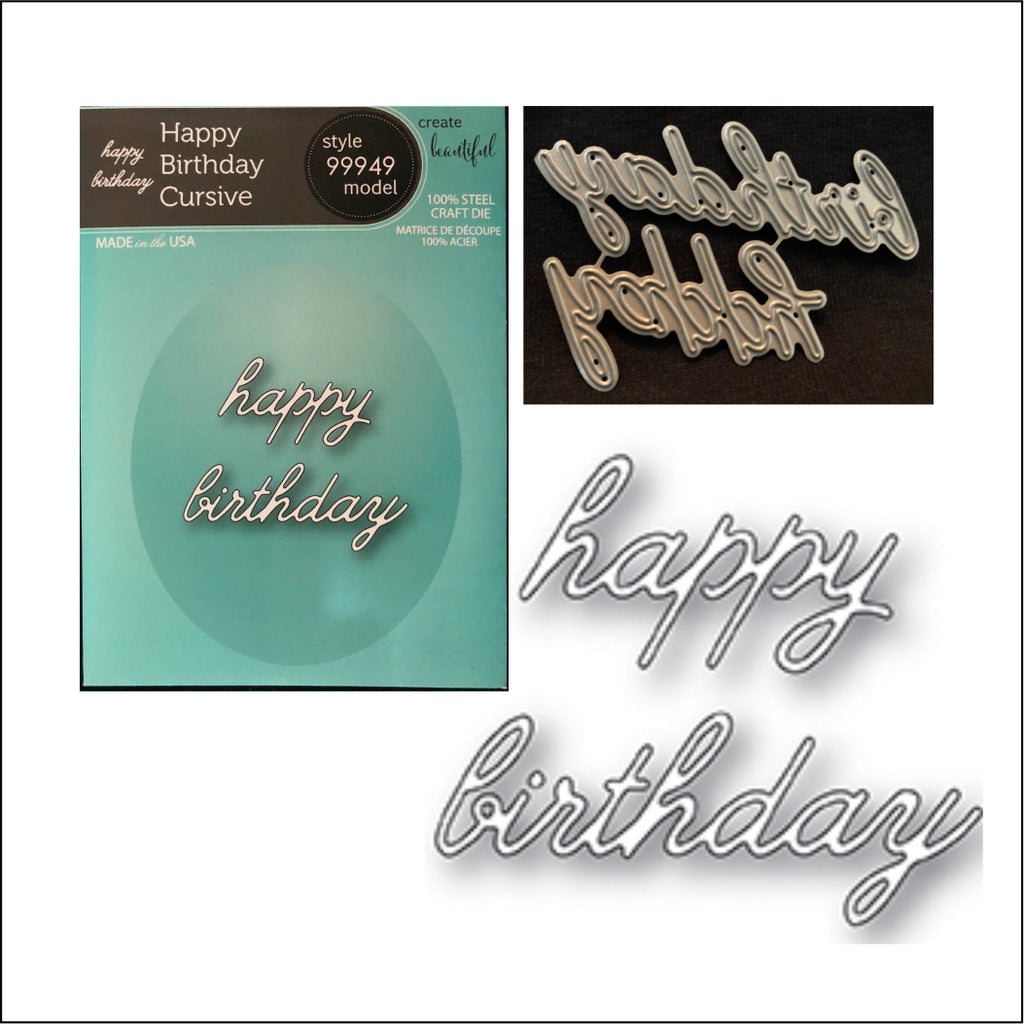 Happy Birthday Cursive metal die by Memory Box cutting dies 99949