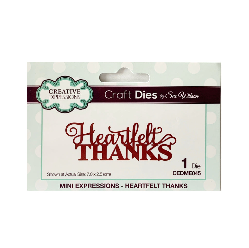 Heartfelt Thanks Word Die by Sue Wilson for Creative Expressions Craft Dies CEDME045