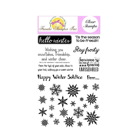 Hello Winter Clear Cling Stamp Set by Frantic Stamper sentiments FRA-CL-166