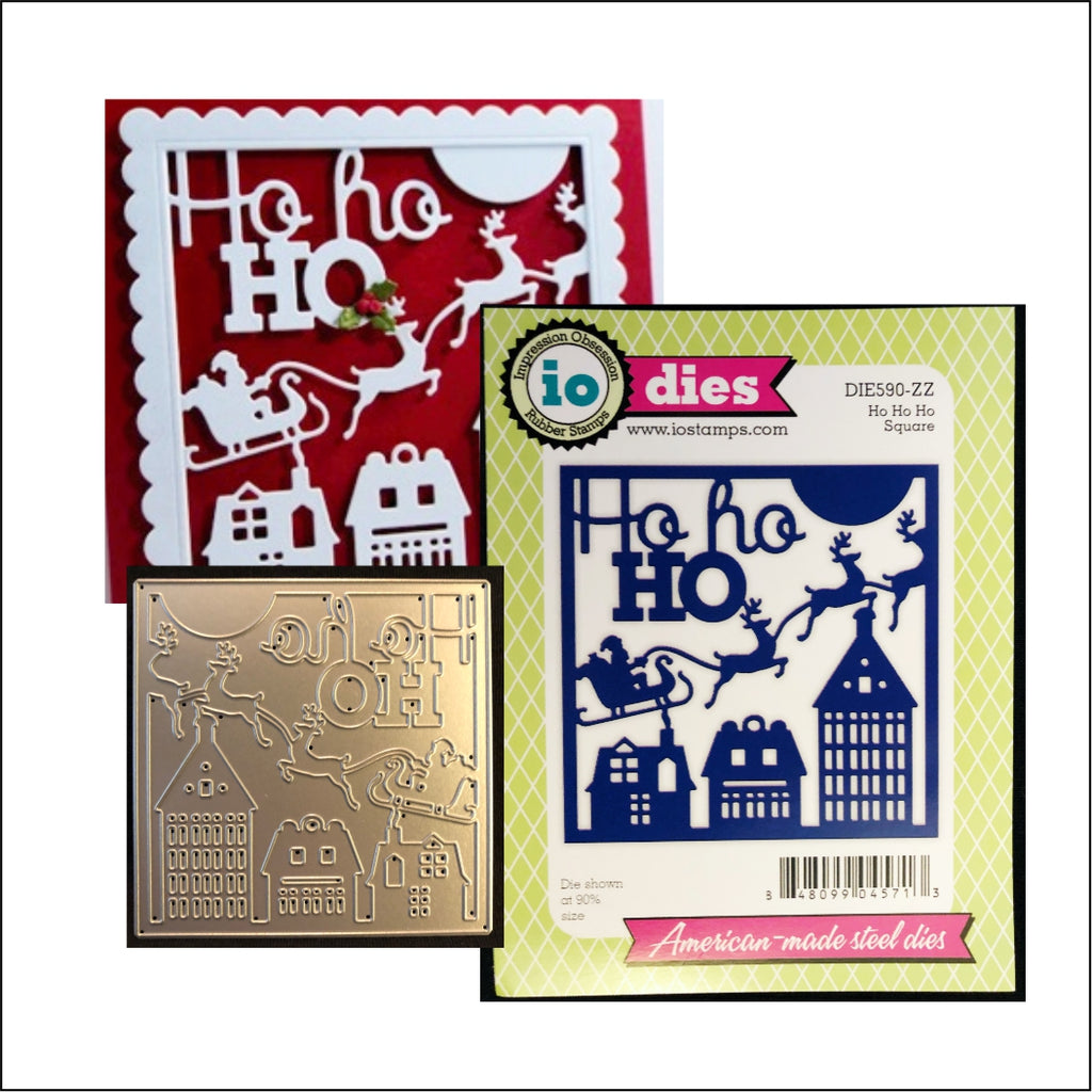 Ho Ho Ho Square Die Cut by Impression Obsession Dies DIE590-ZZ - Inspiration Station Scrapbook Store & Retreat