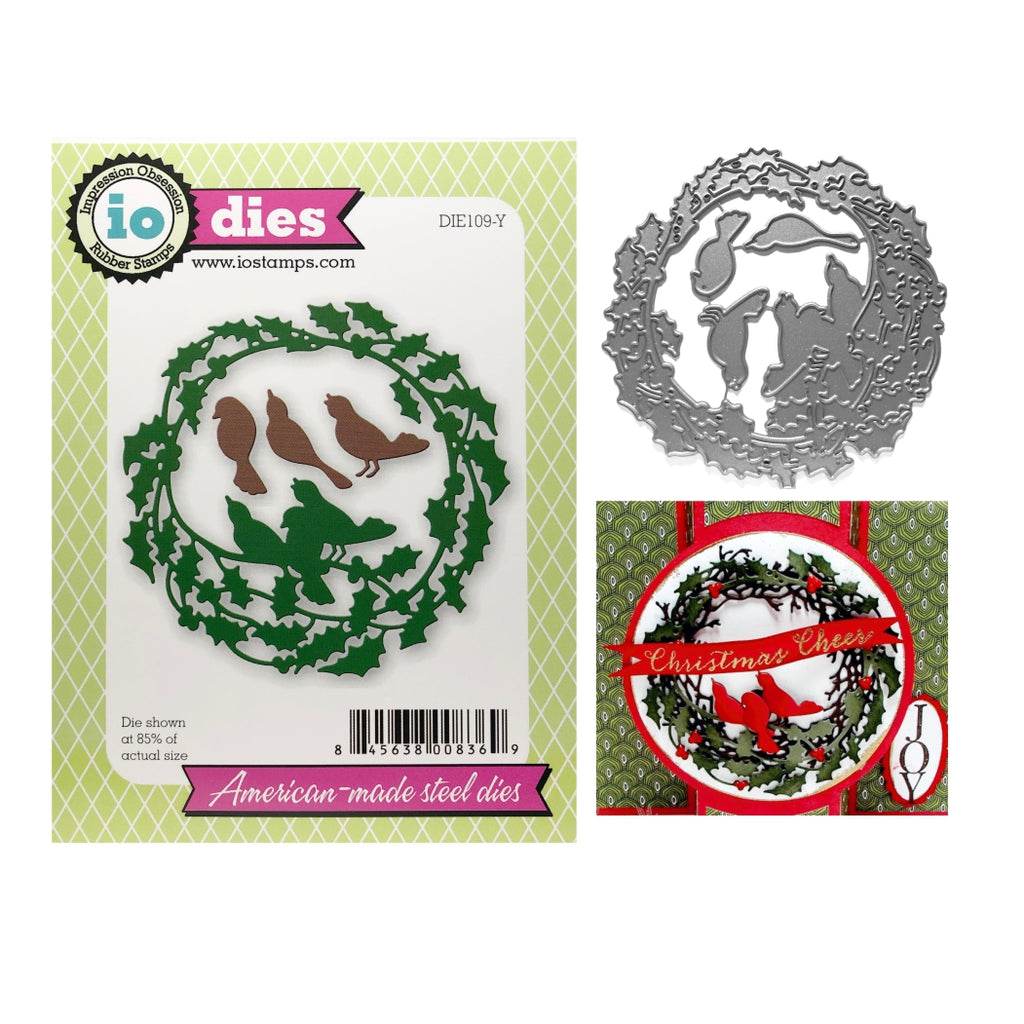 Holly Wreath With Birds Die Set by Impression Obsession Dies DIE109-Y - Inspiration Station Scrapbook Store & Retreat