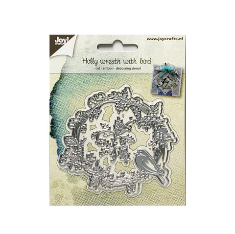 Holly Wreath with Bird Metal Die Cut by Joy Crafts Dies 6002/1062