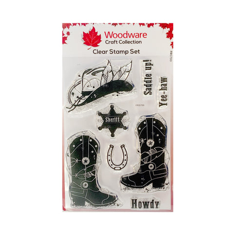 Howdy Cowboy Clear cling stamp set by Woodware craft stamps