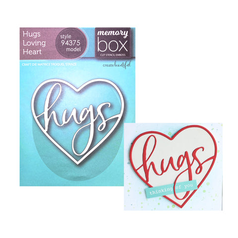 Hugs Loving Heart Die Cut by Memory Box Dies 94375 - Inspiration Station Scrapbook Store & Retreat