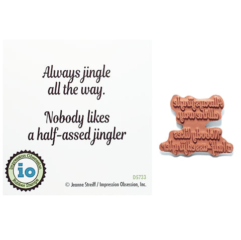 Jingler Sentiment Stamp by Impression Obsession cling stamps D5733