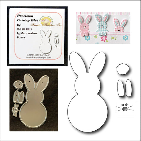 Large Marshmallow Bunny Die Set by Frantic Stamper Metal Dies FRA-DIE-09819 - Inspiration Station Scrapbook Store & Retreat