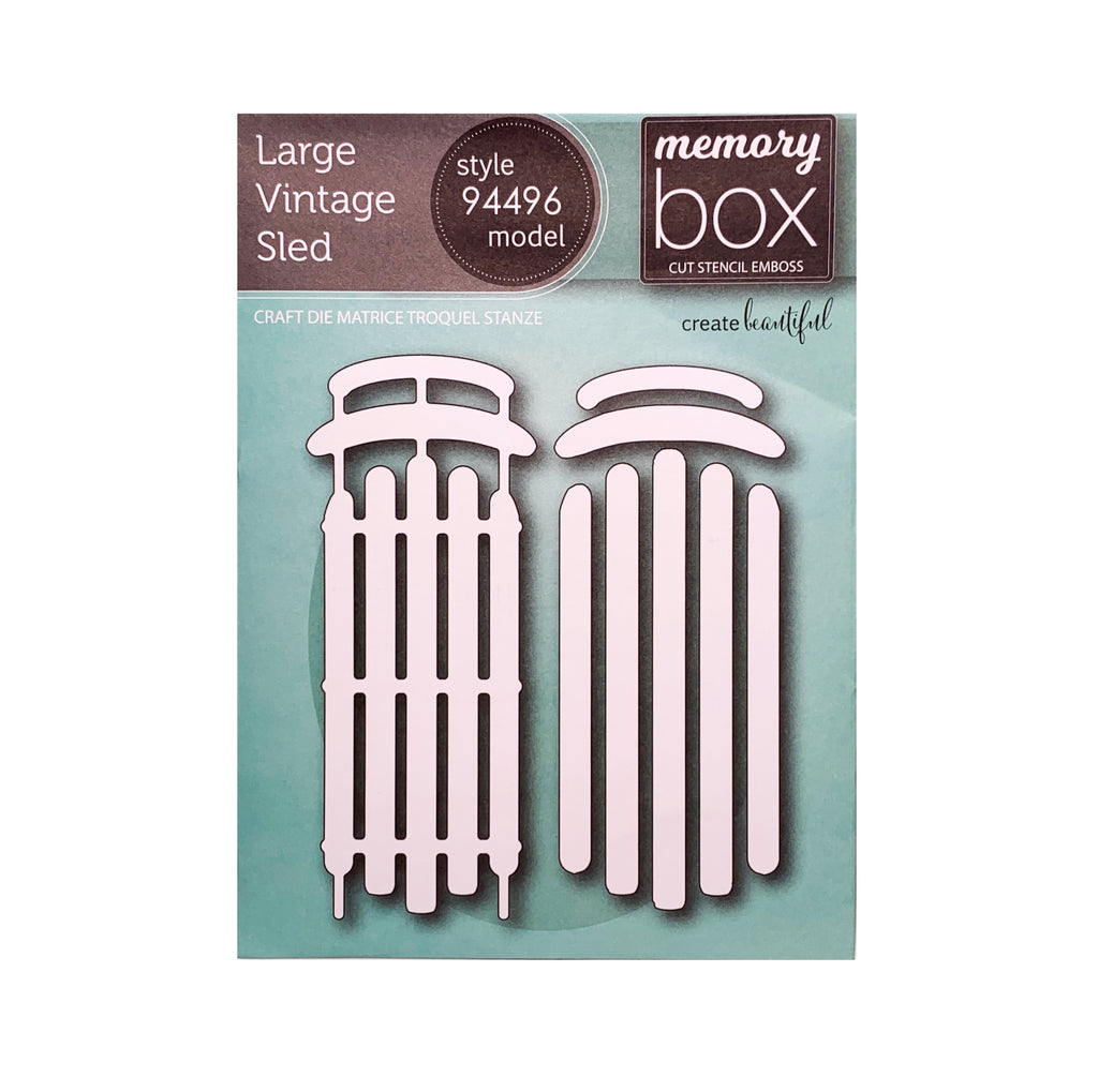 Large Vintage Sled metal die cut by Memory Box cutting dies 94496