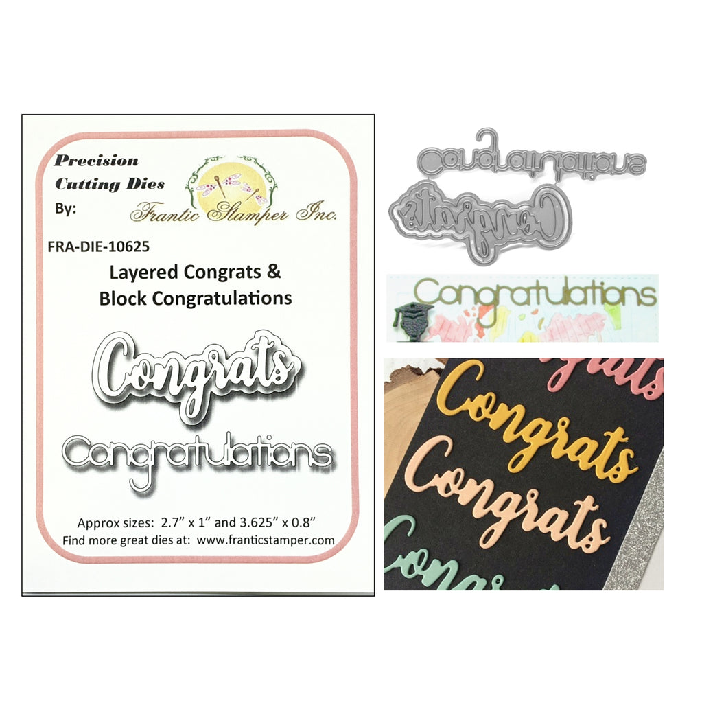 Layered Congrats & Block Congratulations Metal Die by Frantic Stamper Dies FRA-DIE-10625 - Inspiration Station Scrapbook Store & Retreat