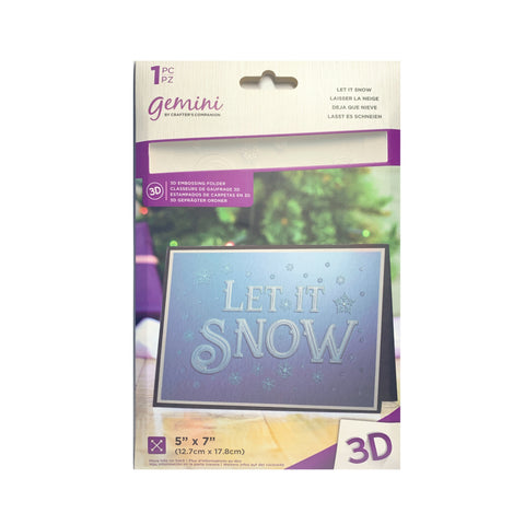 Let it Snow 3D Embossing Folder by Crafter's Companion Craft Folders 5x7