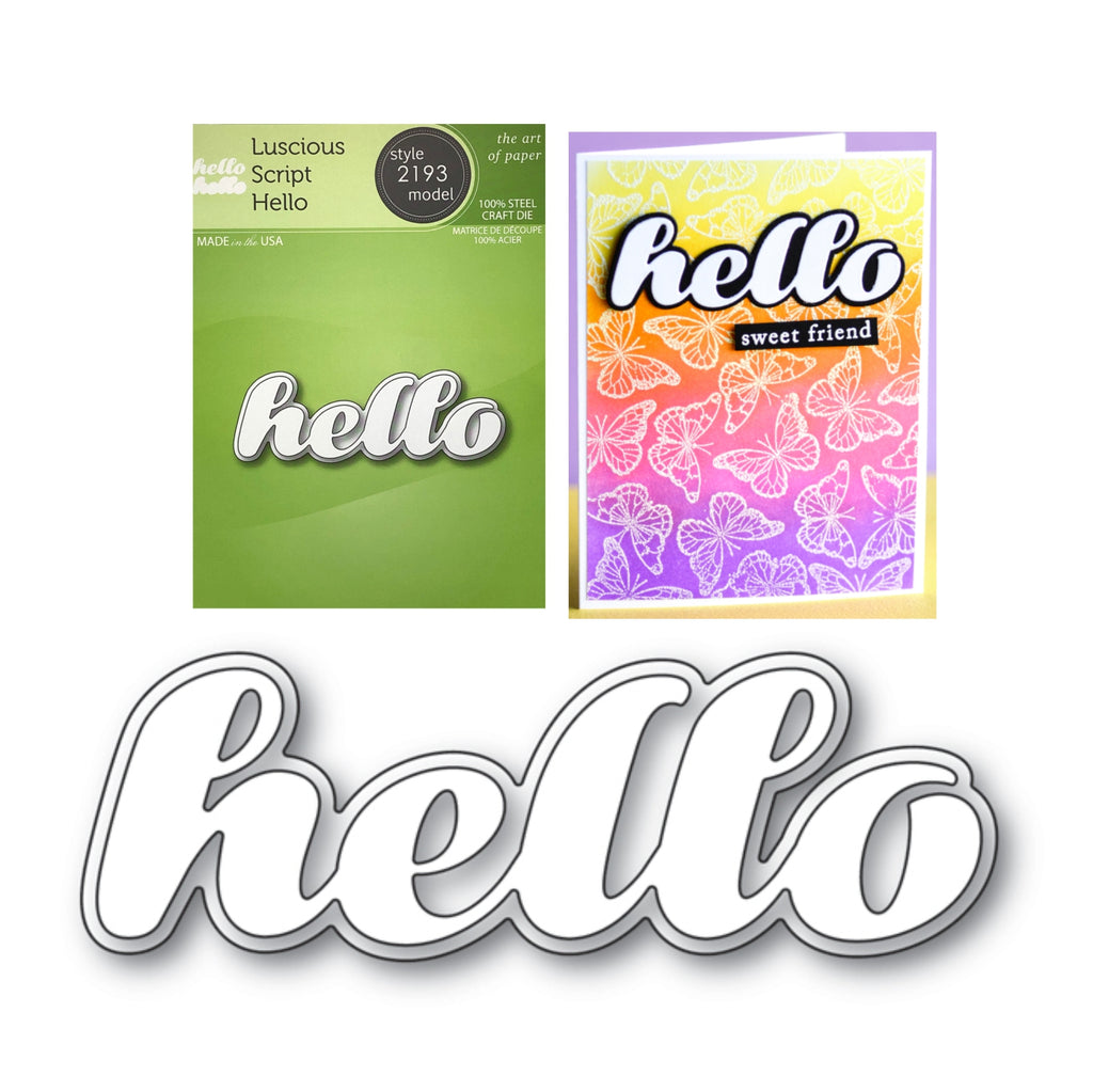 Luscious Script Hello Word Die Set by Poppystamps Dies 2193 - Inspiration Station Scrapbook Store & Retreat
