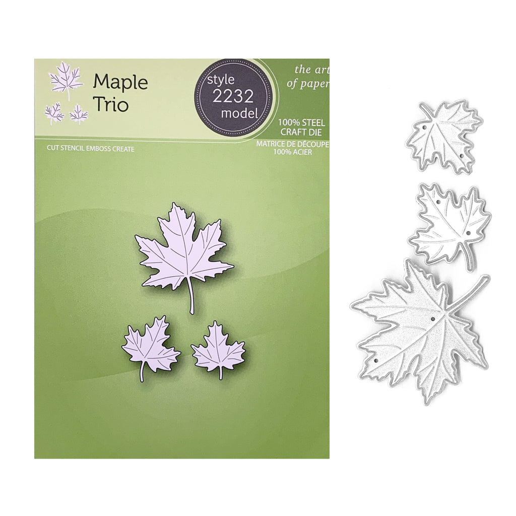 Maple Trio Metal Die Cut Set by Poppy Stamps Leaves Cutting Dies 2232 - Inspiration Station Scrapbook Store & Retreat