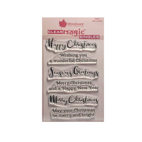 Merry and Bright Christmas Sentiments Clear cling stamp set by Woodware craft stamps