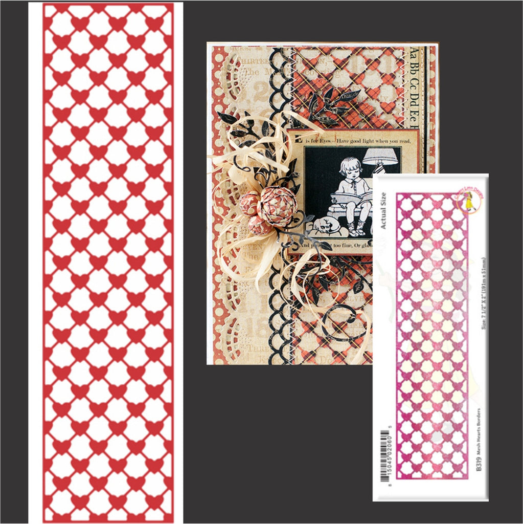 Mesh Hearts Vertical Metal Border Die Cut by Cheery Lynn Designs Dies B319 - Inspiration Station Scrapbook Store & Retreat