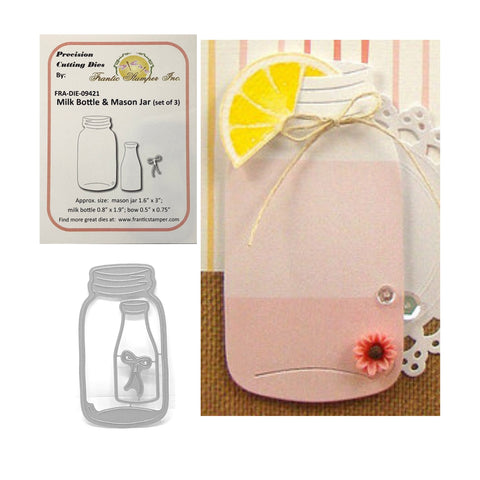 Milk Bottle & Mason Jar Metal Die Cut Set by Frantic Stamper Cutting Dies FRA-DIE-09421 - Inspiration Station Scrapbook Store & Retreat