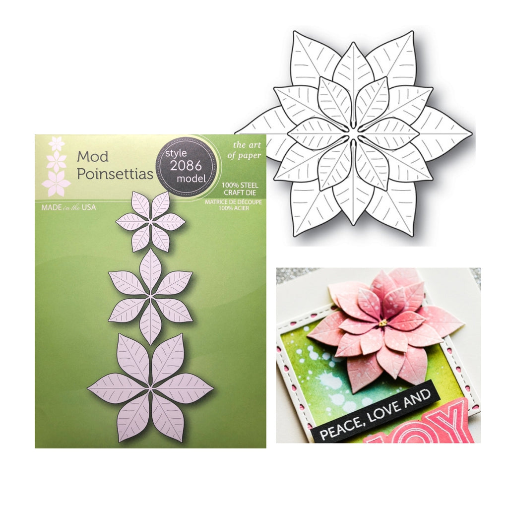 Mod Poinsettias Metal Die Set by Poppystamps Dies 2086 - Inspiration Station Scrapbook Store & Retreat