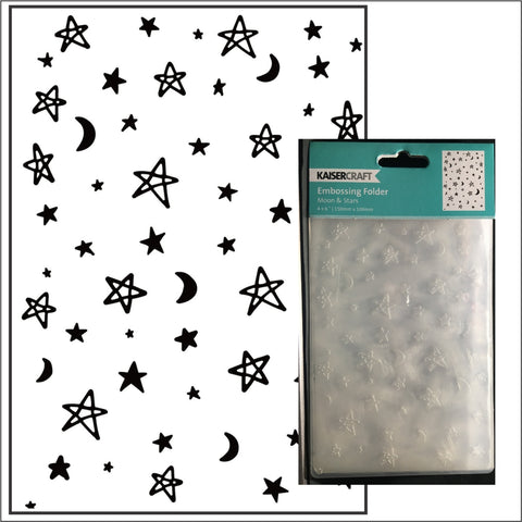 Moon & Stars Embossing Folder by Kaisercraft EF267 - Inspiration Station Scrapbook Store & Retreat