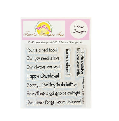 Owl Sentiments Clear Cling Stamp Set by Frantic Stamper sentiments FRA-CL-106