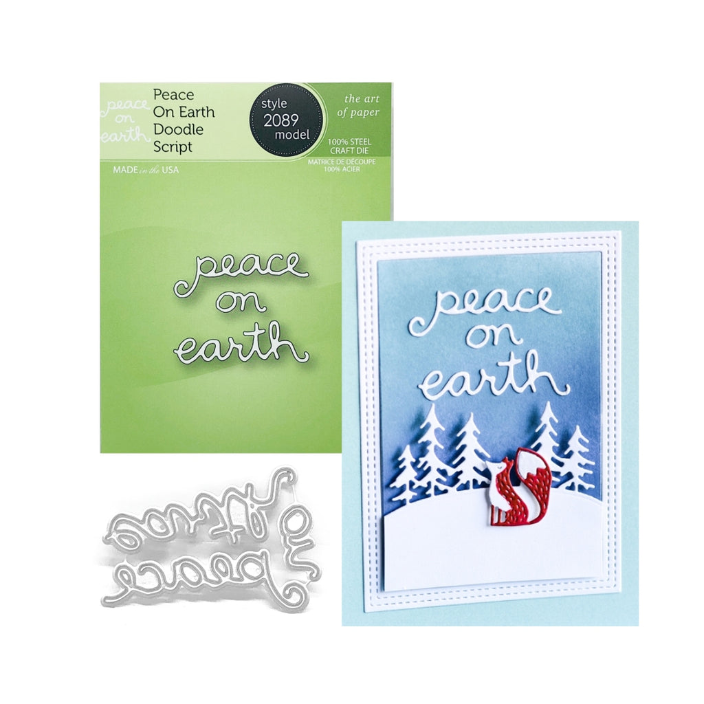 Peace On Earth Doodle Script Word Die Cut Set by Poppystamps Dies 2089 - Inspiration Station Scrapbook Store & Retreat