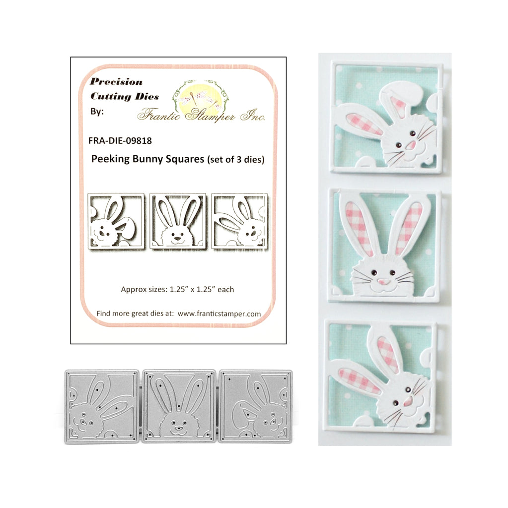 Peeking Bunny Squares Die Set by Frantic Stamper Metal Dies FRA-DIE-09818 - Inspiration Station Scrapbook Store & Retreat