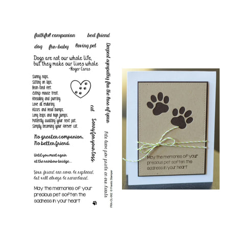 Pet Sympathy Clear Cling Stamp Set by Frantic Stamper FRA-CL-062