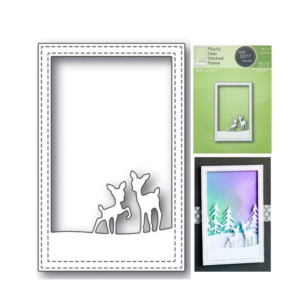 Playful Deer Stitched Frame Metal Die Cut by Poppystamps Dies 2077 - Inspiration Station Scrapbook Store & Retreat