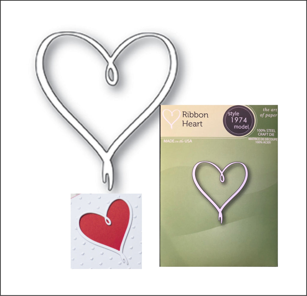 Ribbon Heart Die Cut by Poppystamps Dies 1974 - Inspiration Station Scrapbook Store & Retreat