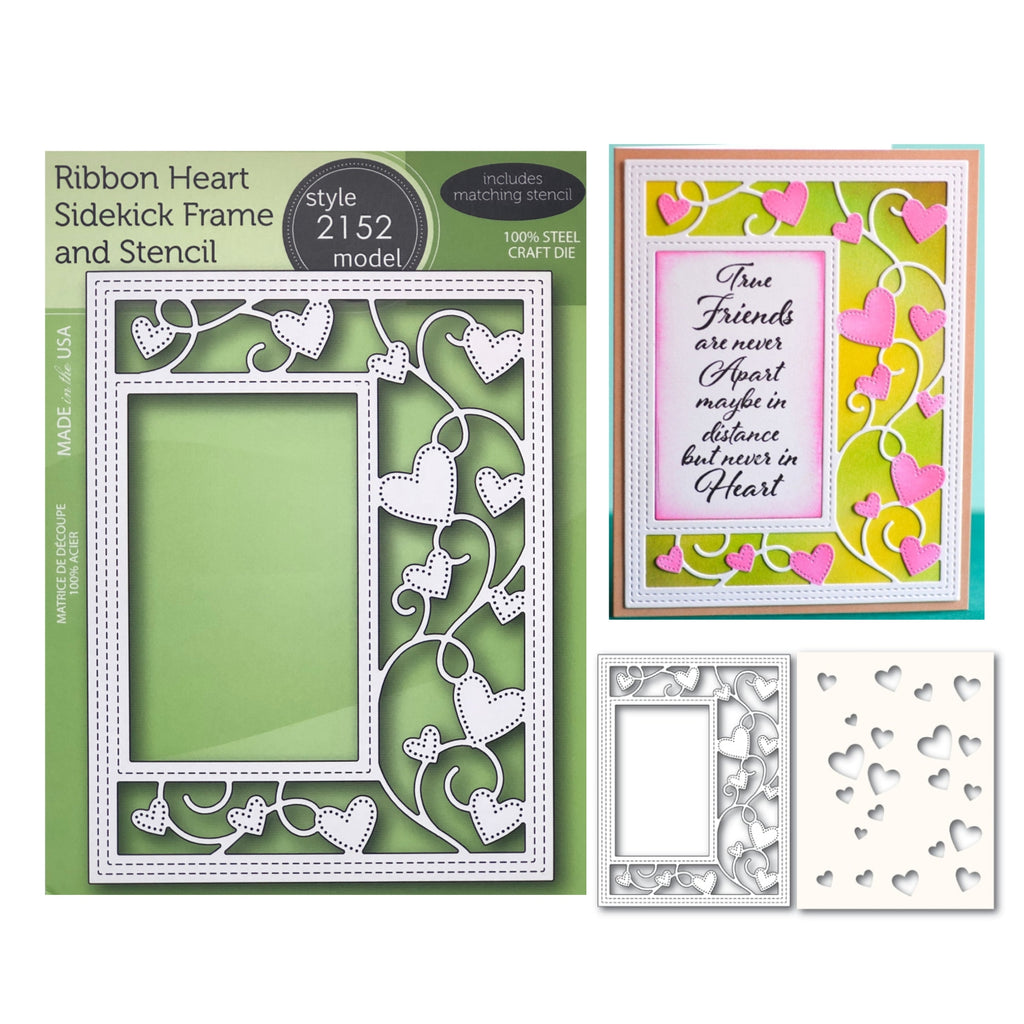 Ribbon Heart Sidekick Frame and Stencil Metal Die Set by Poppystamps Dies 2152 - Inspiration Station Scrapbook Store & Retreat