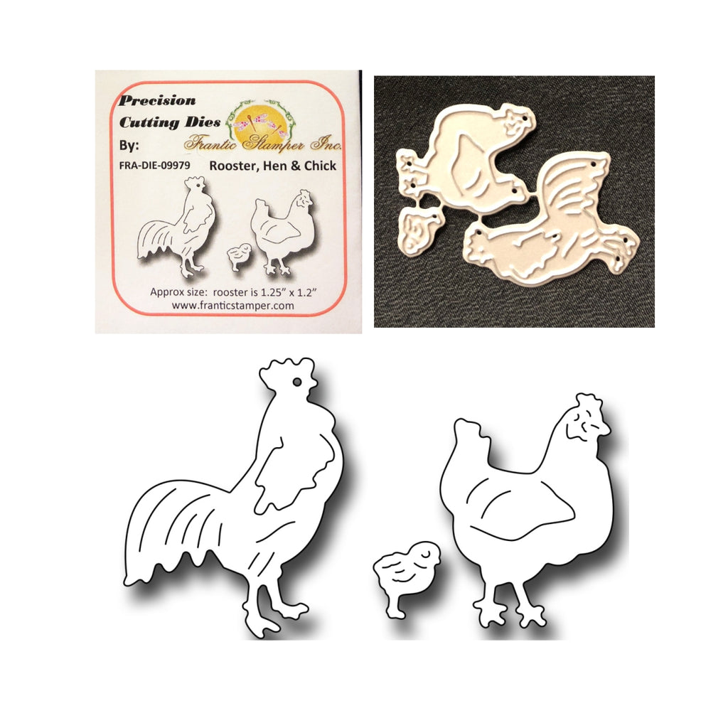 Rooster, Hen, & Chick Die Cut Set by Frantic Stamper Dies FRA-DIE-09979 - Inspiration Station Scrapbook Store & Retreat
