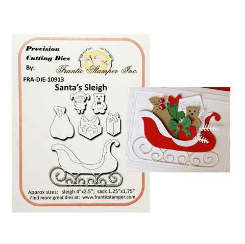 Santa's Sleigh Metal Die Words by Frantic Stamper FRA-DIE-10913